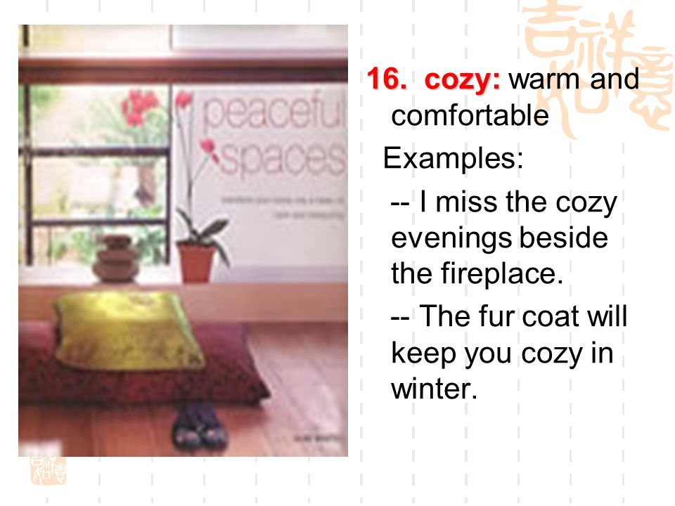 16. cozy: 16. cozy: warm and comfortable Examples: -- I miss the cozy evenings beside the fireplace. -- The fur coat will keep you cozy in winter.