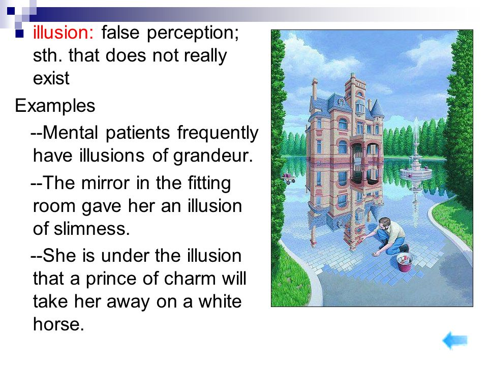 illusion: false perception; sth. that does not really exist Examples --Mental patients frequently have illusions of grandeur. --The mirror in the fitt