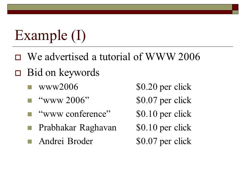 Example (I)  We advertised a tutorial of WWW 2006  Bid on keywords www2006 $0.20 per click www 2006 $0.07 per click www conference $0.10 per click Prabhakar Raghavan$0.10 per click Andrei Broder$0.07 per click