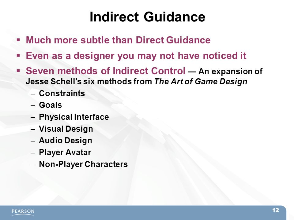 Indirect Guidance  Much more subtle than Direct Guidance  Even as a designer you may not have noticed it  Seven methods of Indirect Control — An ex