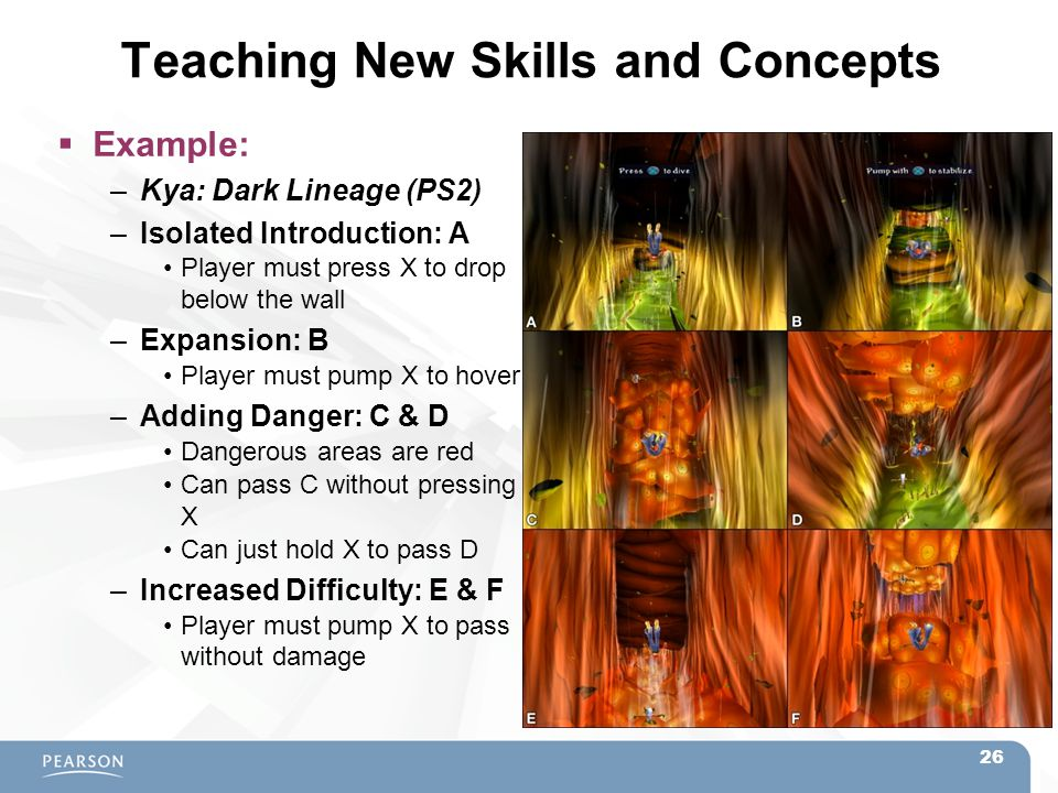 Teaching New Skills and Concepts  Example: –Kya: Dark Lineage (PS2) –Isolated Introduction: A Player must press X to drop below the wall –Expansion: