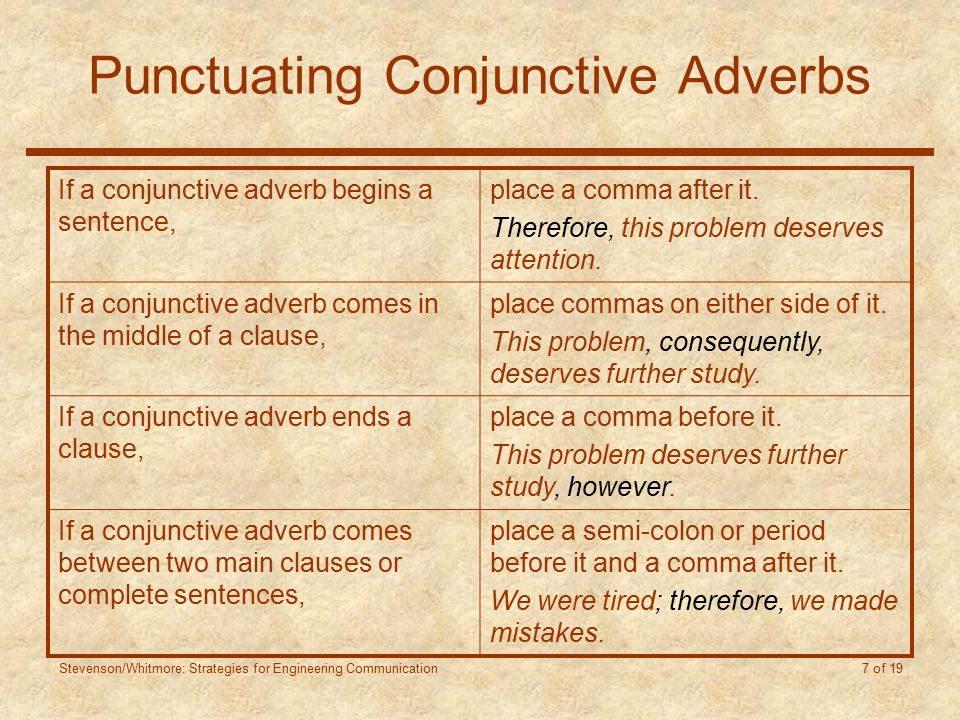 Stevenson/Whitmore: Strategies for Engineering Communication 7 of 19 Punctuating Conjunctive Adverbs If a conjunctive adverb begins a sentence, place a comma after it.