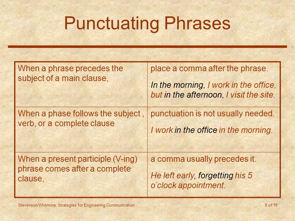 Stevenson/Whitmore: Strategies for Engineering Communication 9 of 19 Punctuating Phrases When a phrase precedes the subject of a main clause, place a comma after the phrase.