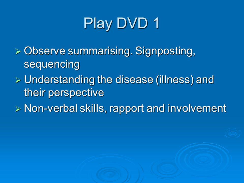 Play DVD 1  Observe summarising.
