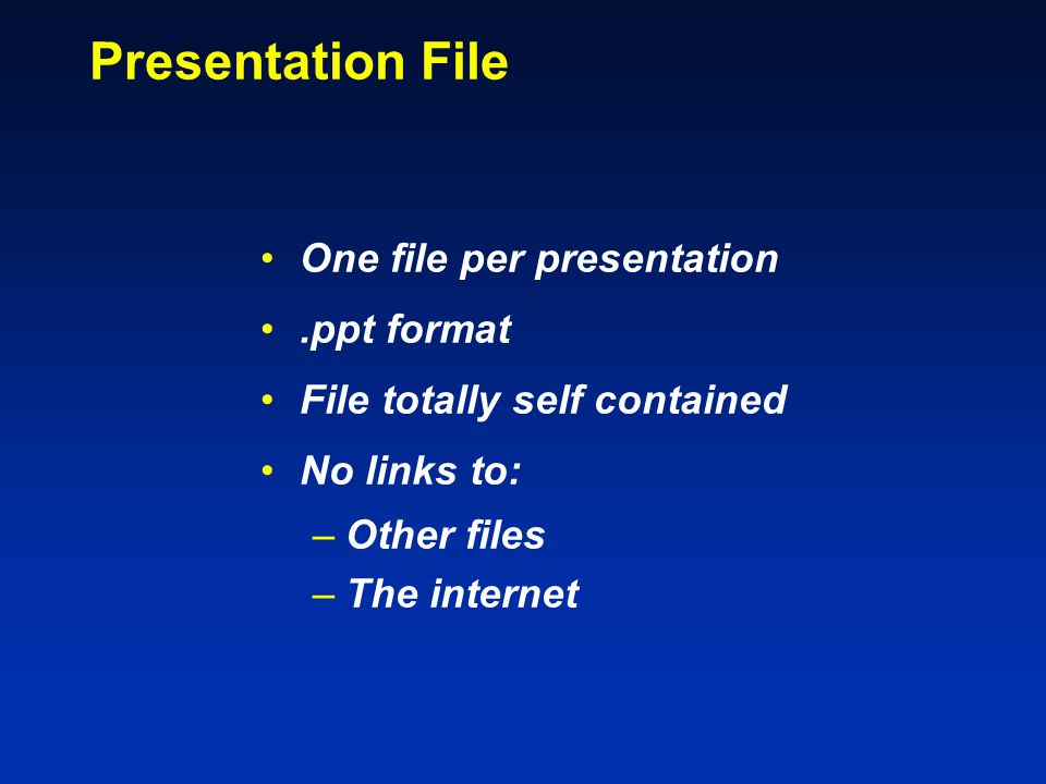 File Transfers: Upload.ppt File to Web Site Similar to upload of final manuscript Session Chair downloads & reviews Can use in either direction Other transfer arrangements by special arrangement with Session Chair