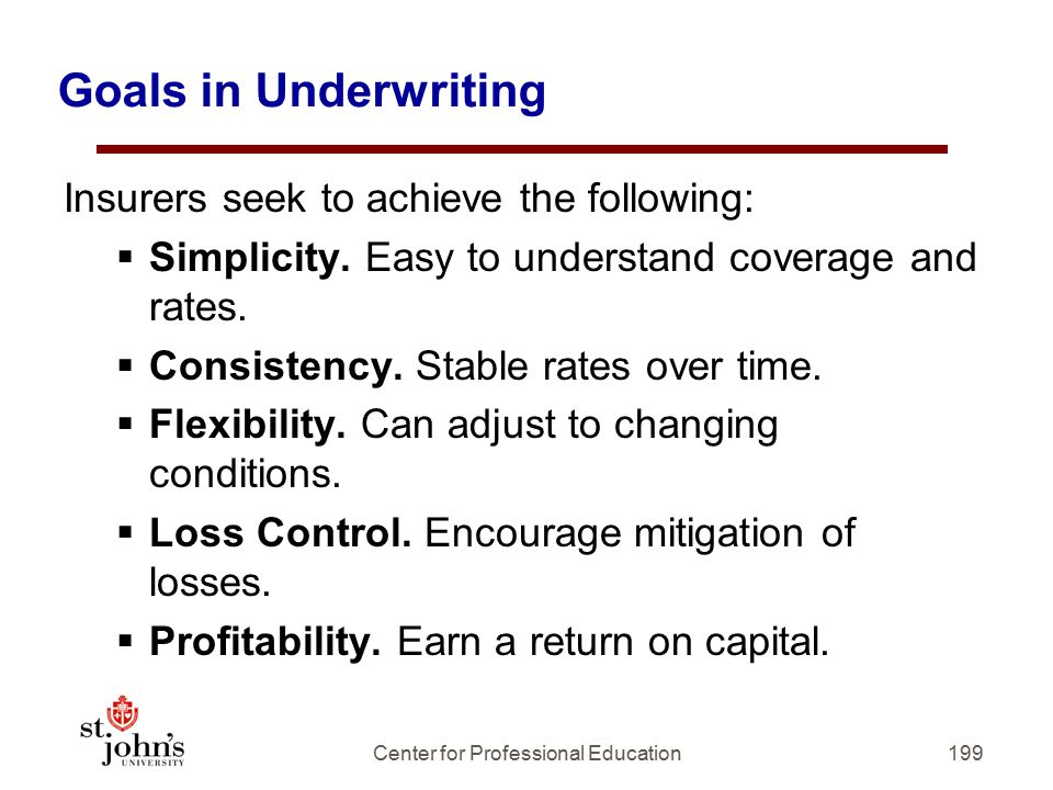 199 Goals in Underwriting Insurers seek to achieve the following:  Simplicity.