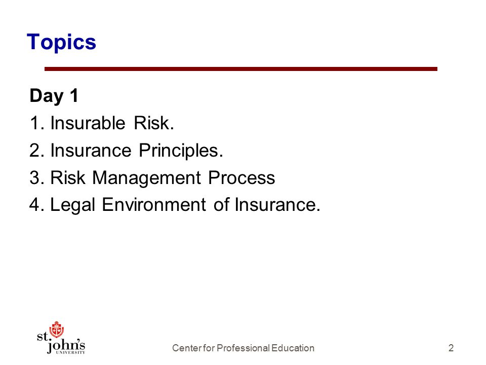 Topics 2 Day 1 1.Insurable Risk. 2. Insurance Principles.