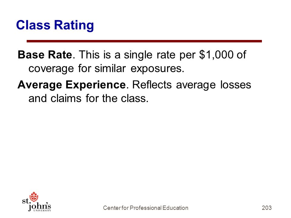 Class Rating Base Rate.This is a single rate per $1,000 of coverage for similar exposures.