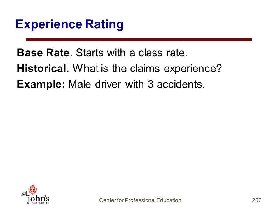 Experience Rating Base Rate.Starts with a class rate.