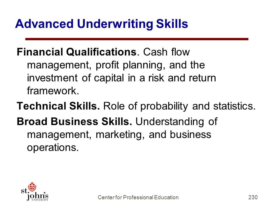 Advanced Underwriting Skills Financial Qualifications.