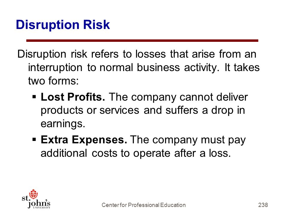 238 Disruption Risk Disruption risk refers to losses that arise from an interruption to normal business activity.