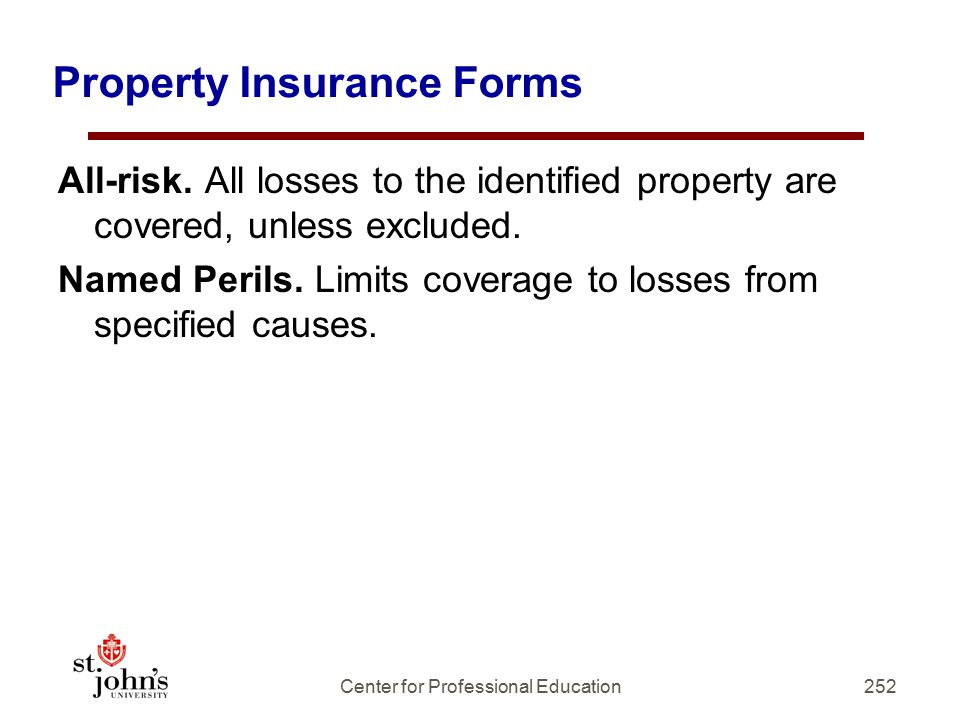 252 Property Insurance Forms All-risk.