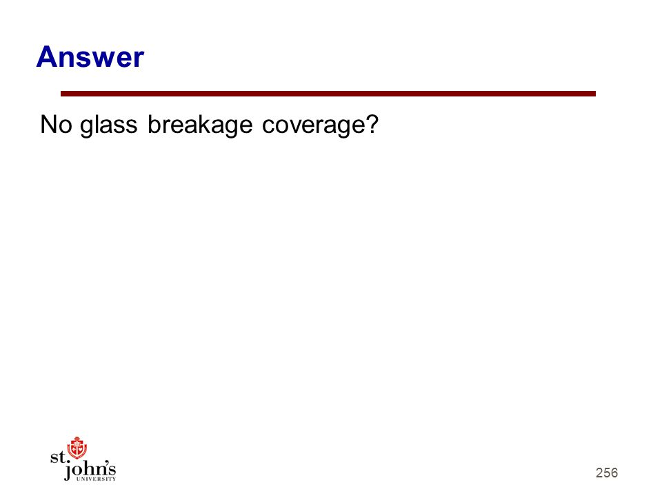 256 Answer No glass breakage coverage?