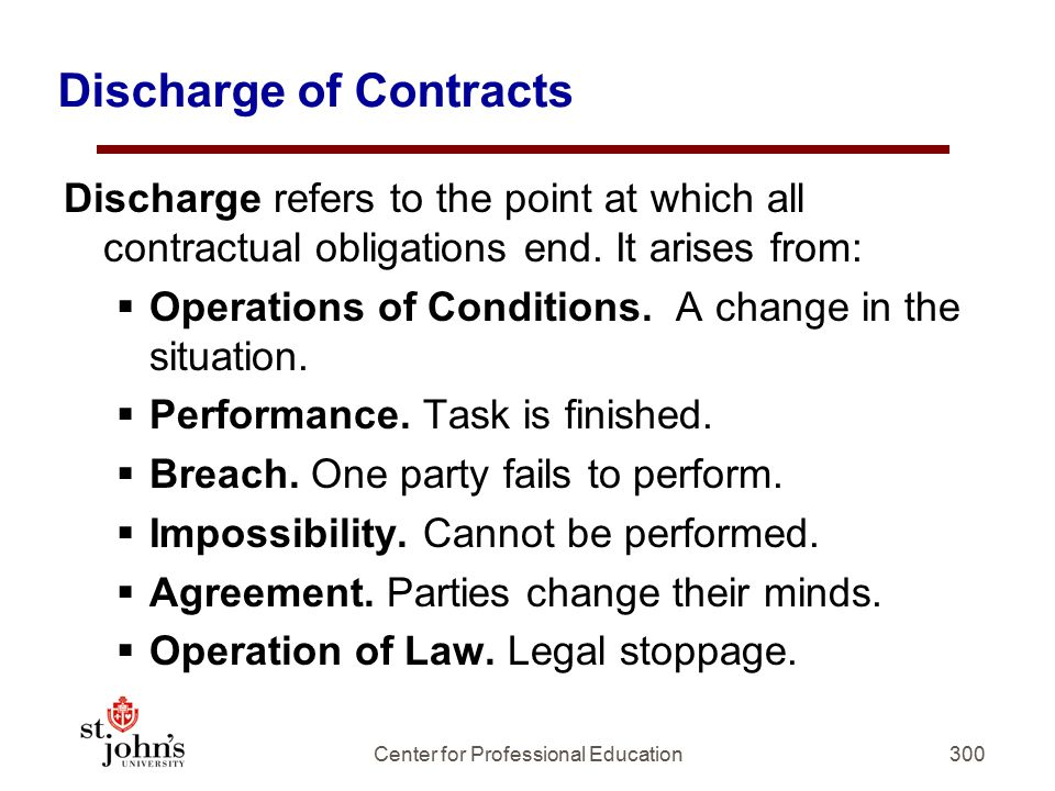 300 Discharge of Contracts Discharge refers to the point at which all contractual obligations end.