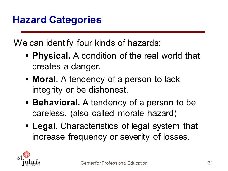 Hazard Categories We can identify four kinds of hazards:  Physical.