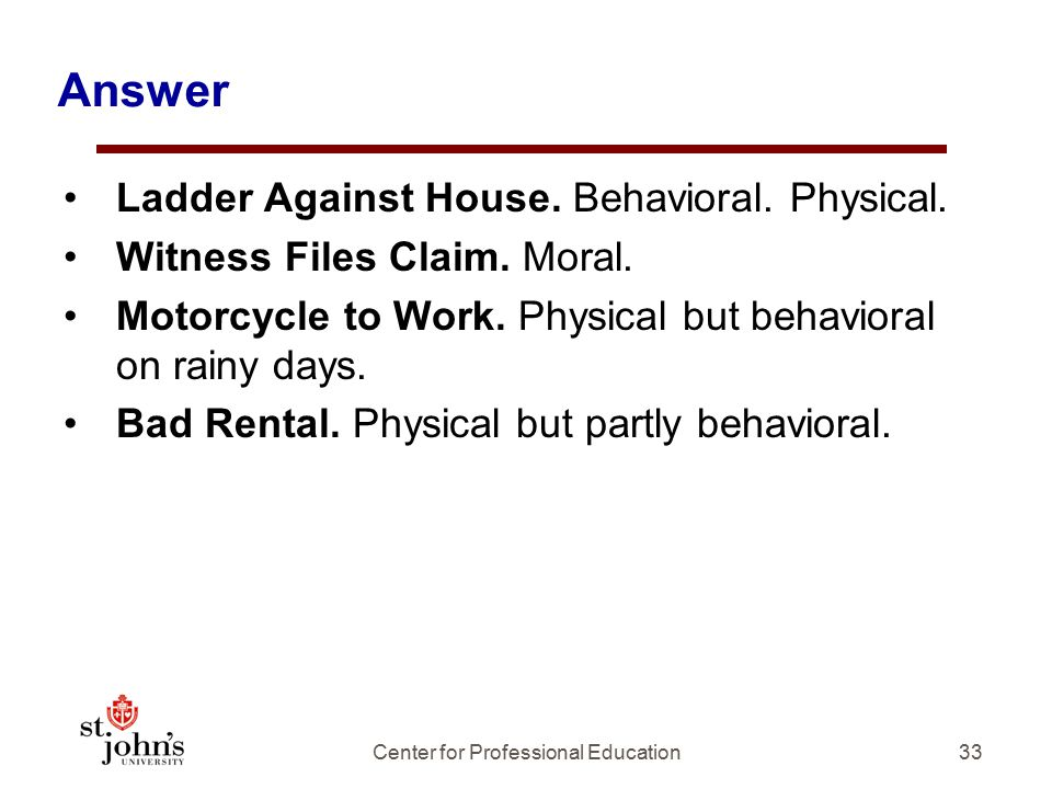 Answer Ladder Against House.Behavioral. Physical.