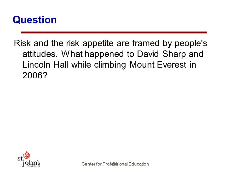 51 Question Risk and the risk appetite are framed by people's attitudes.