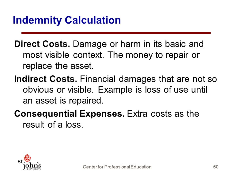 Indemnity Calculation Direct Costs.Damage or harm in its basic and most visible context.