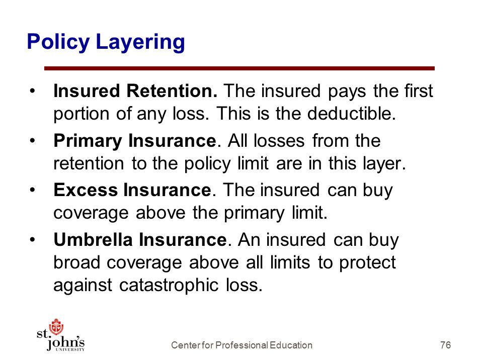 Policy Layering Insured Retention.The insured pays the first portion of any loss.