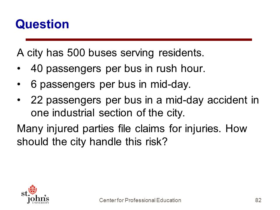 Question A city has 500 buses serving residents.40 passengers per bus in rush hour.