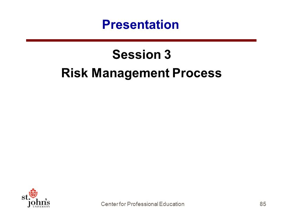 Presentation Session 3 Risk Management Process 85Center for Professional Education