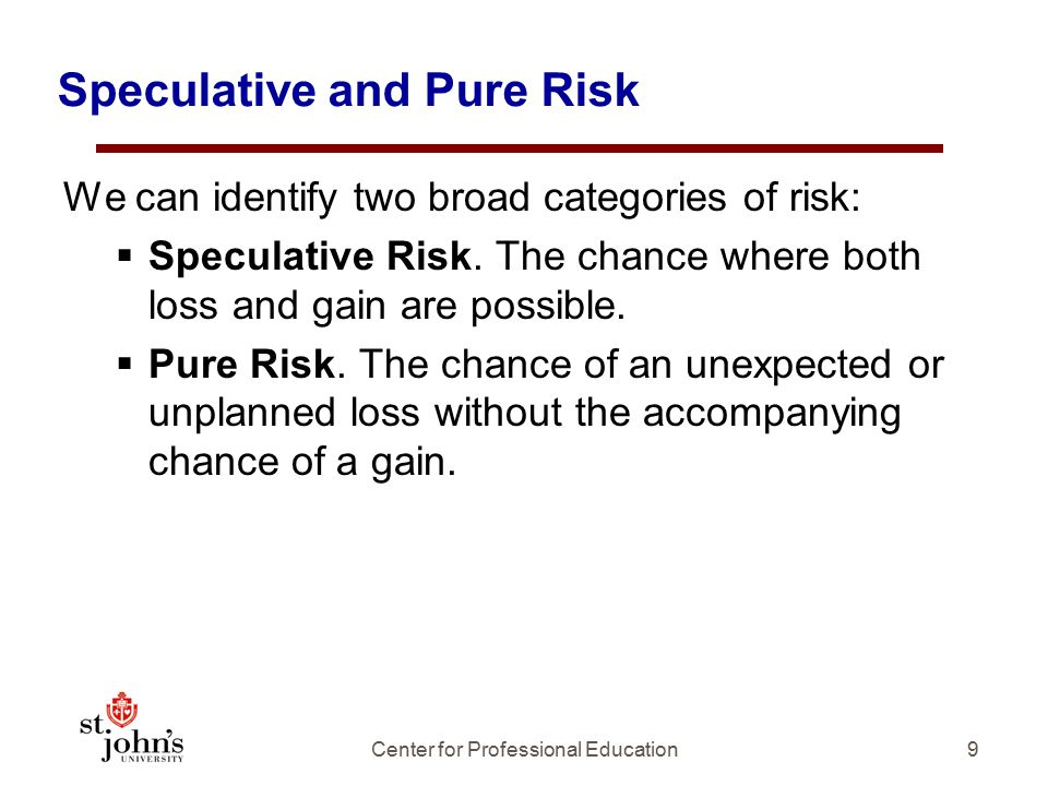 Speculative and Pure Risk We can identify two broad categories of risk:  Speculative Risk.