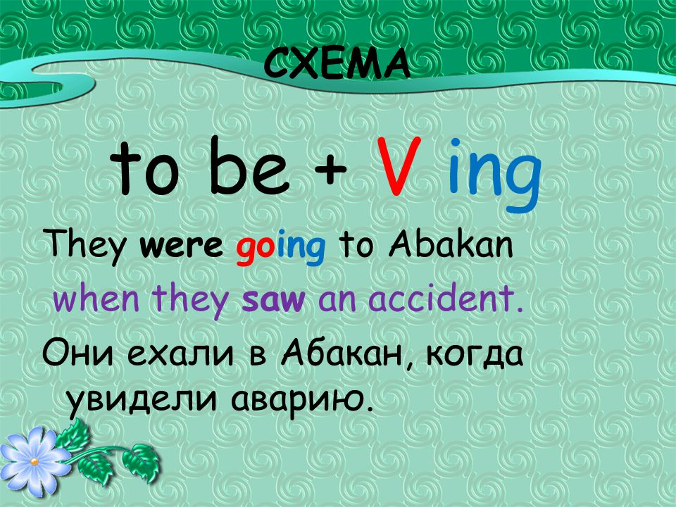 СХЕМА to be + V ing They were going to Abakan when they saw an accident.