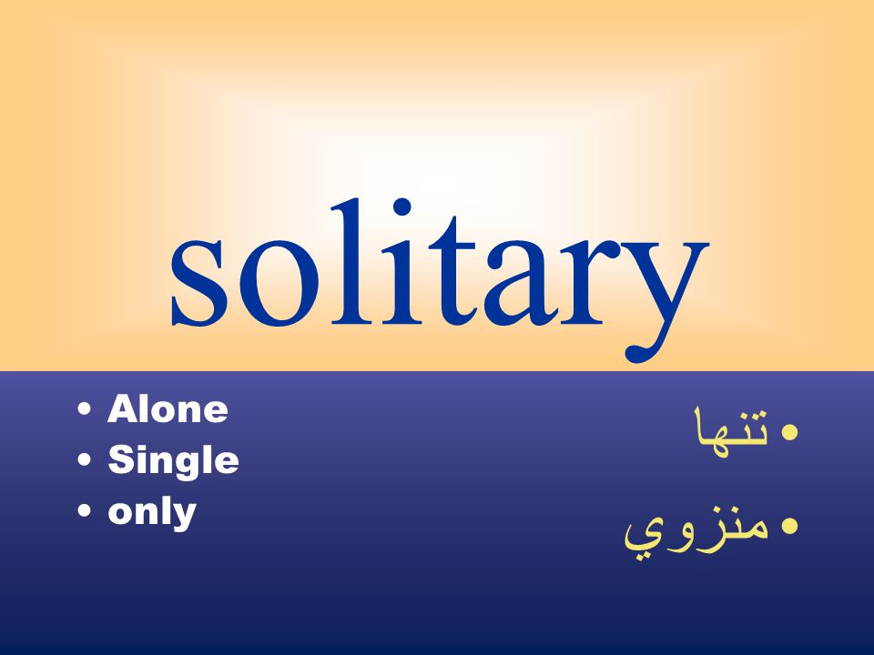 solitary Alone Single only تنها منزوي
