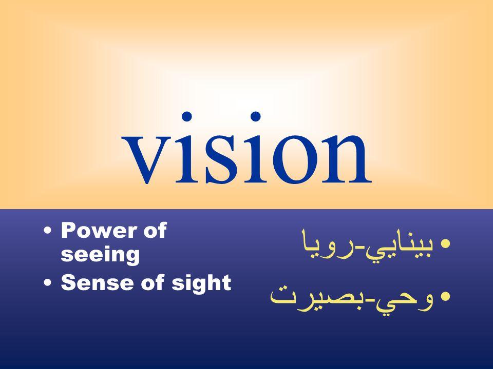 vision Power of seeing Sense of sight بينايي - رويا وحي - بصيرت