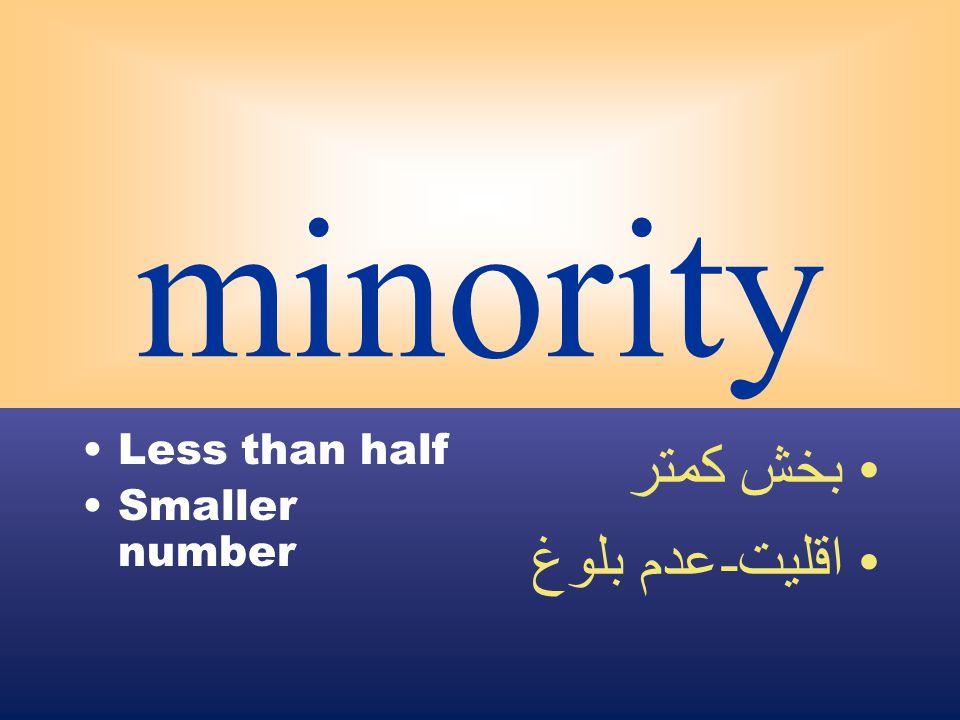 minority Less than half Smaller number بخش كمتر اقليت - عدم بلوغ