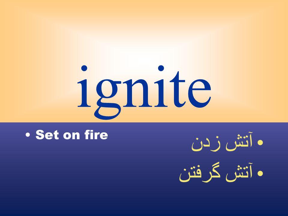 ignite Set on fire آتش زدن آتش گرفتن