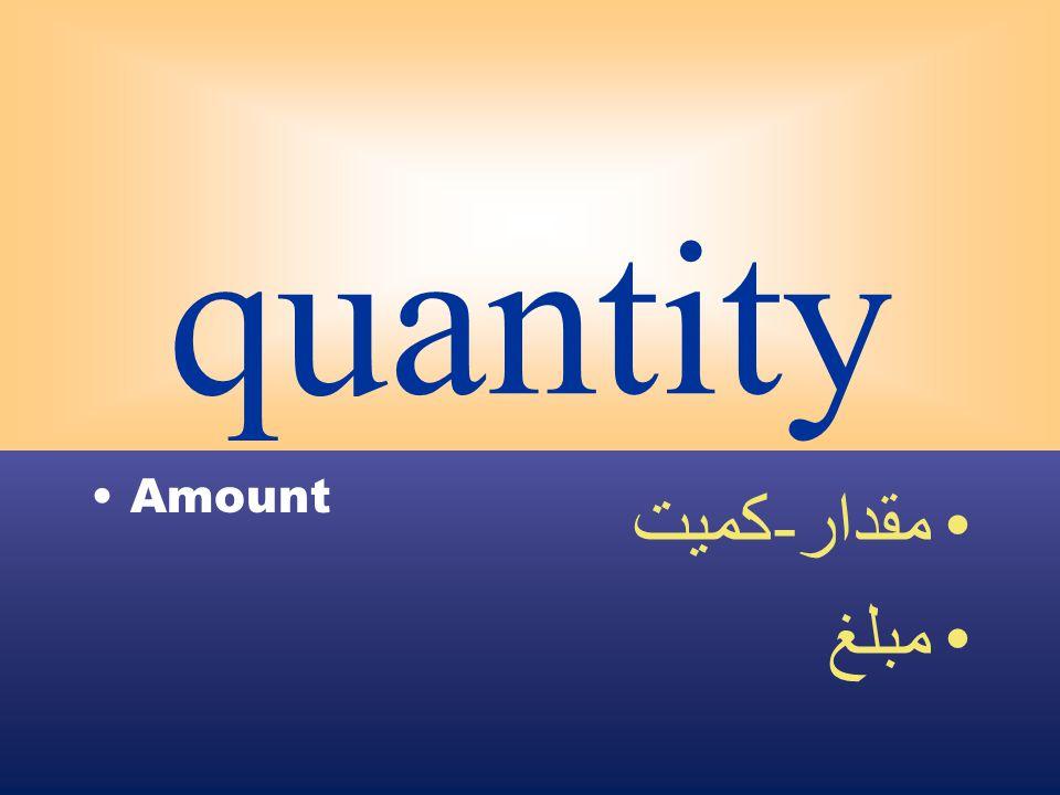 quantity Amount مقدار - كميت مبلغ