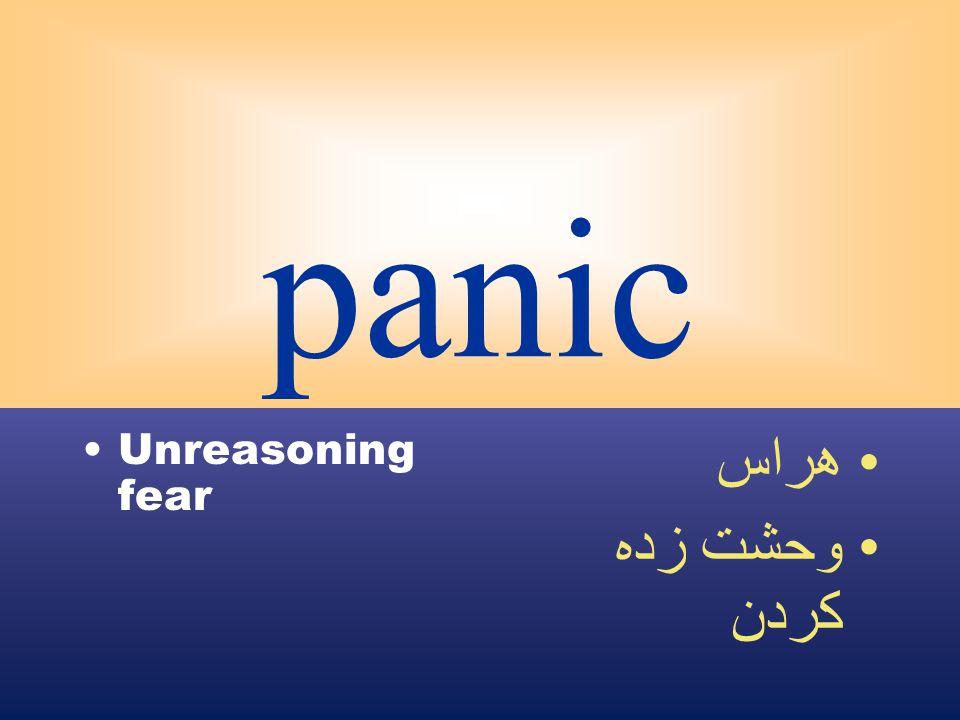 panic Unreasoning fear هراس وحشت زده كردن