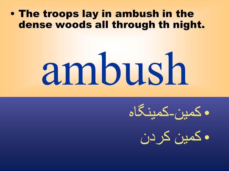 ambush The troops lay in ambush in the dense woods all through th night. كمين - كمينگاه كمين كردن