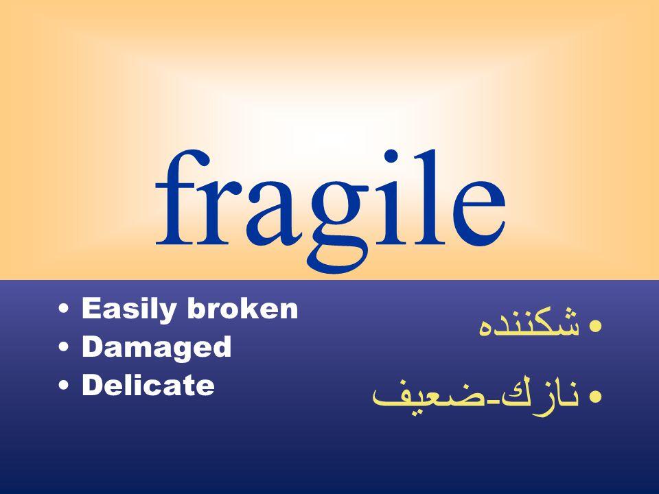 fragile Easily broken Damaged Delicate شكننده نازك - ضعيف