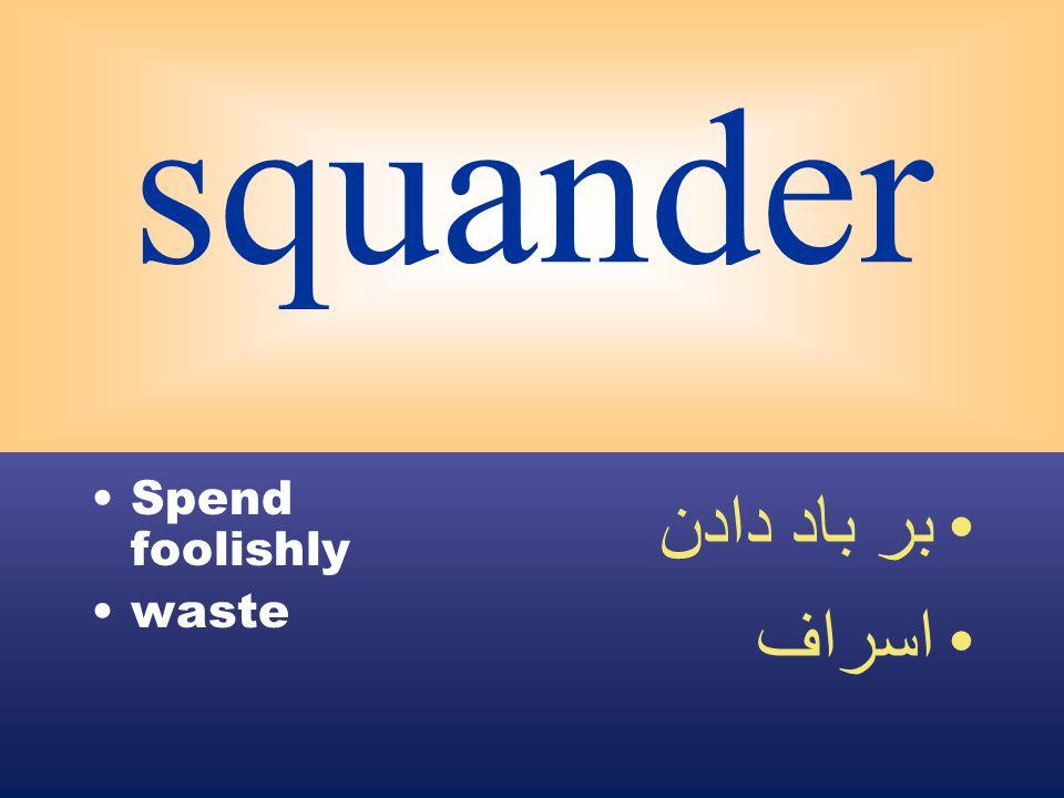 squander Spend foolishly waste بر باد دادن اسراف