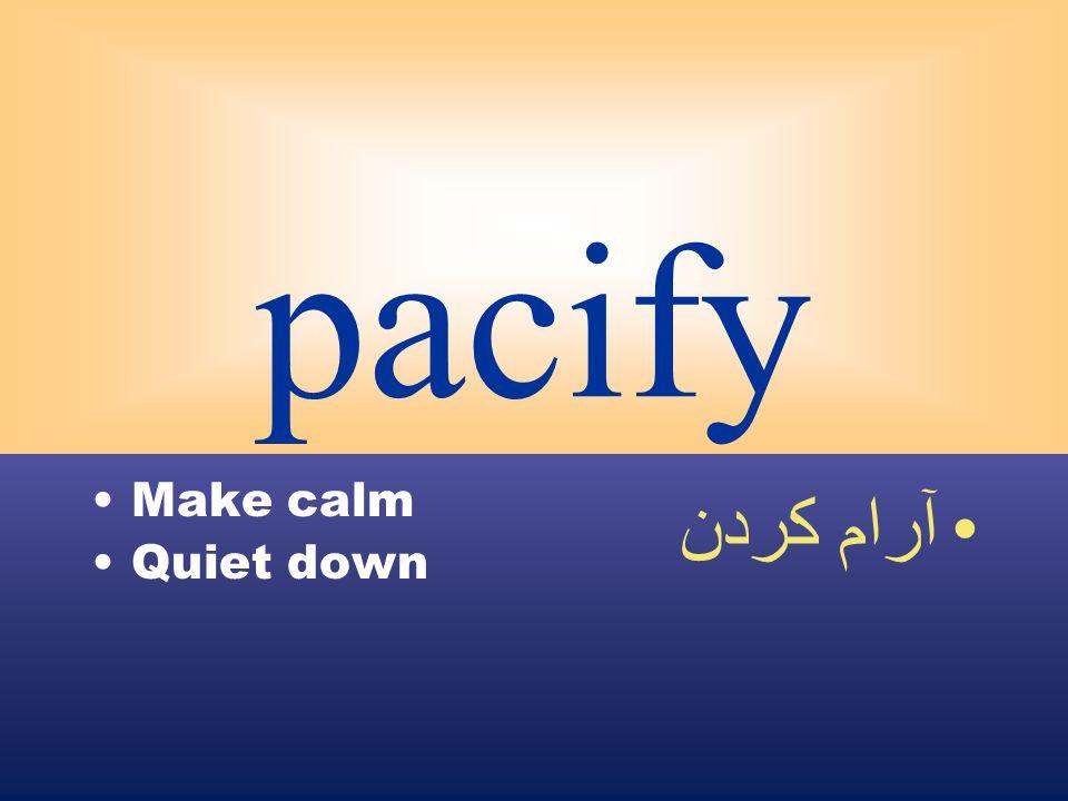 pacify Make calm Quiet down آرام كردن