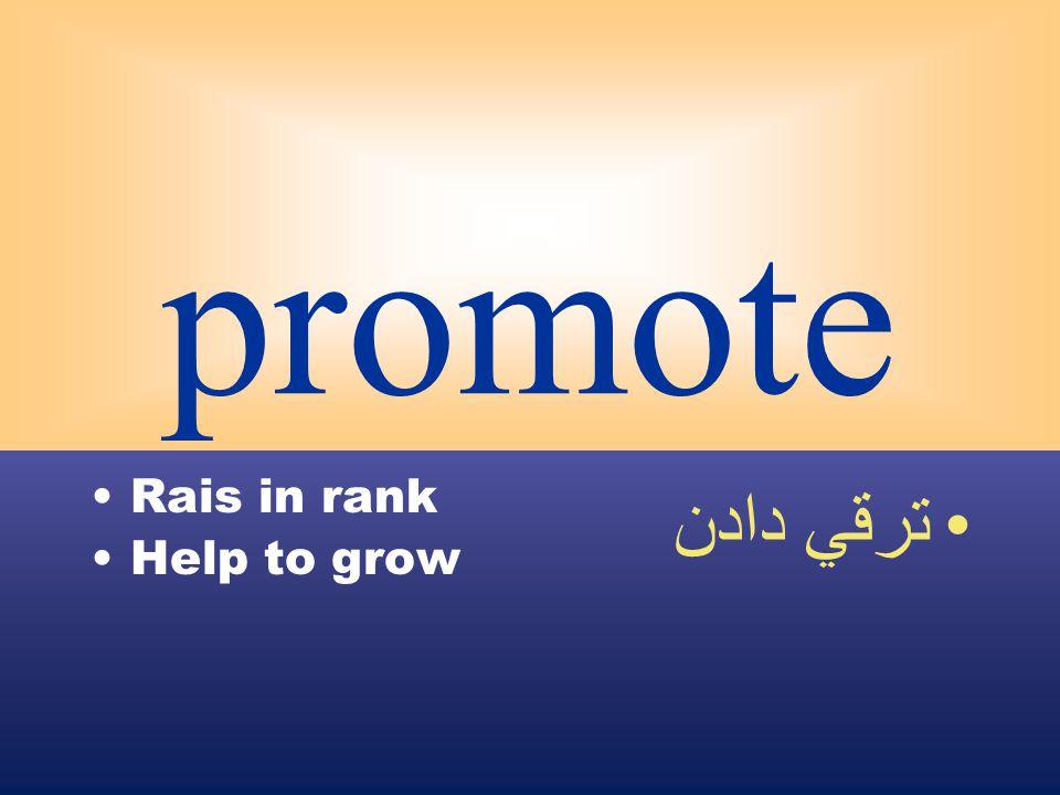 promote Rais in rank Help to grow ترقي دادن
