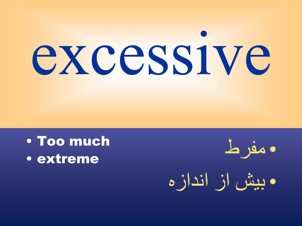 excessive Too much extreme مفرط بيش از اندازه