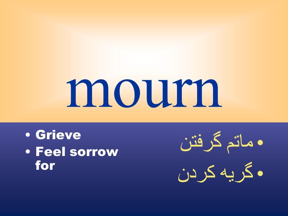 mourn Grieve Feel sorrow for ماتم گرفتن گريه كردن