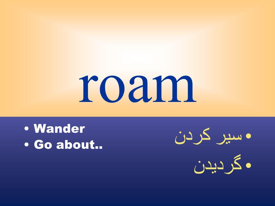 roam Wander Go about.. سير كردن گرديدن