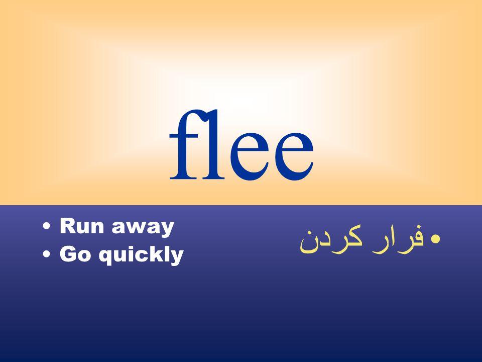 flee Run away Go quickly فرار كردن
