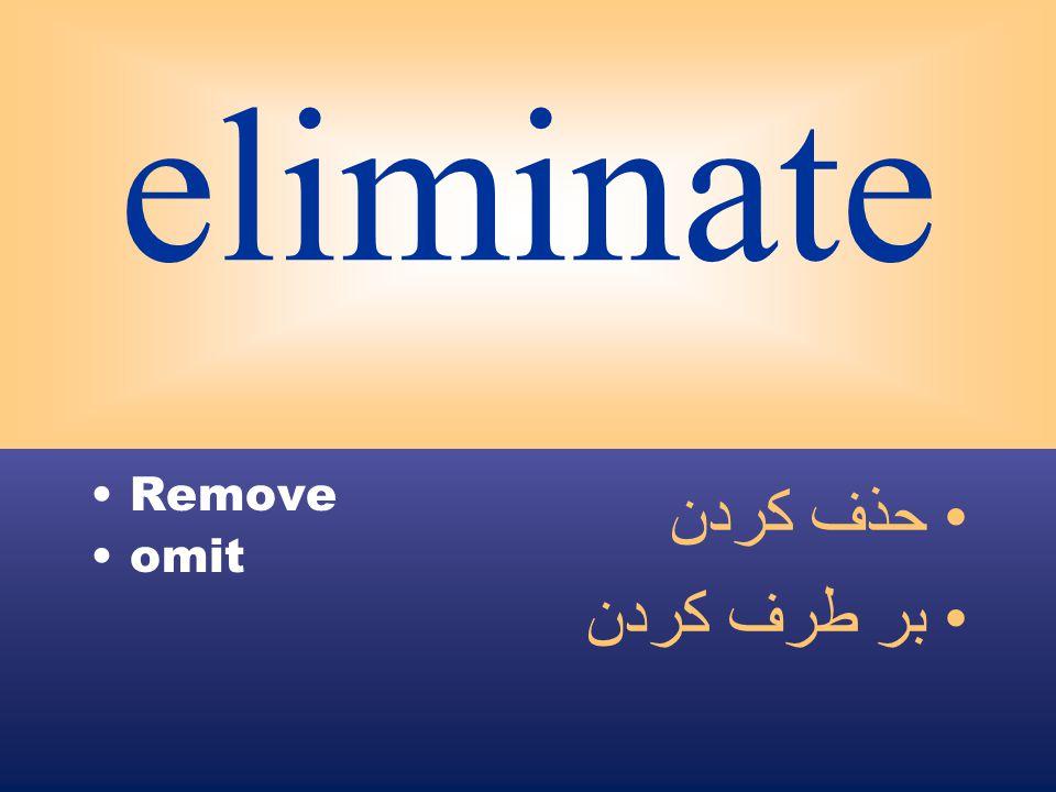 eliminate Remove omit حذف كردن بر طرف كردن