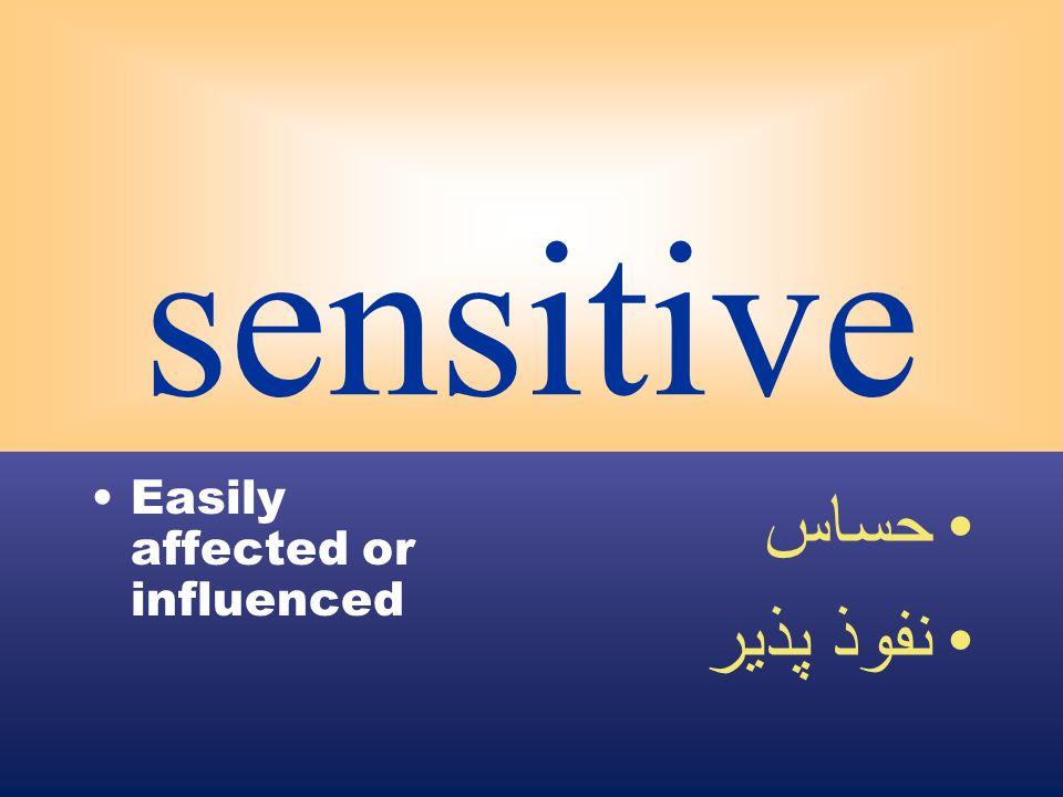 sensitive Easily affected or influenced حساس نفوذ پذير