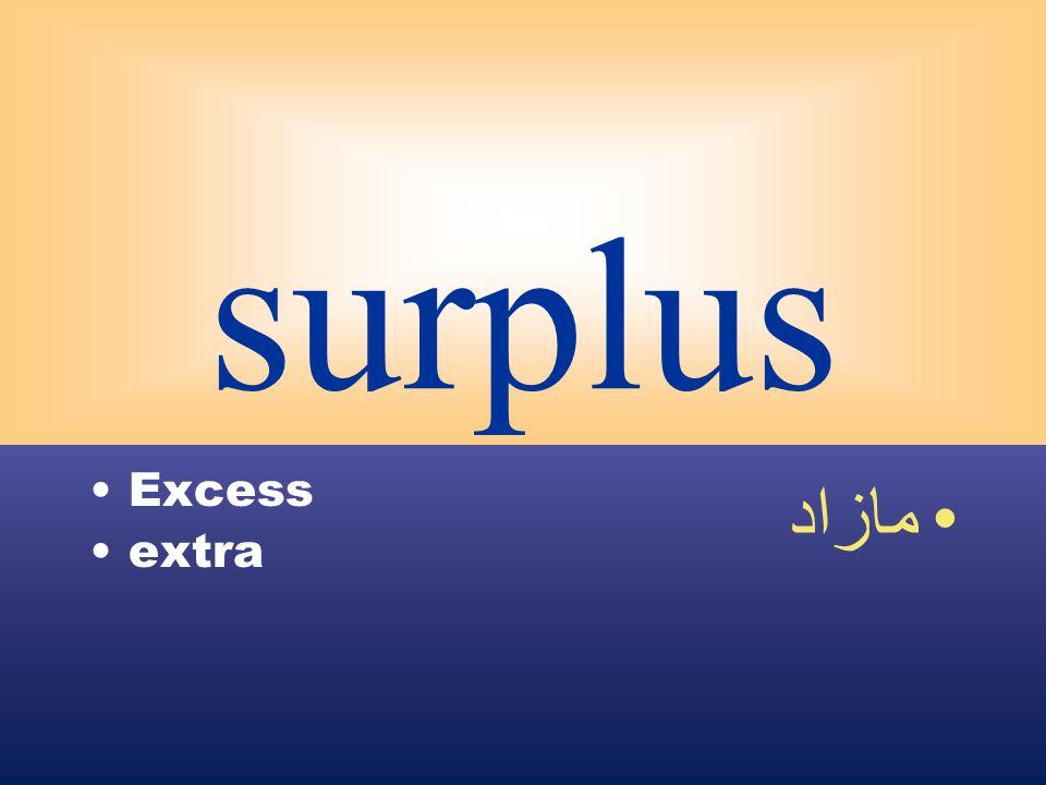 surplus Excess extra مازاد