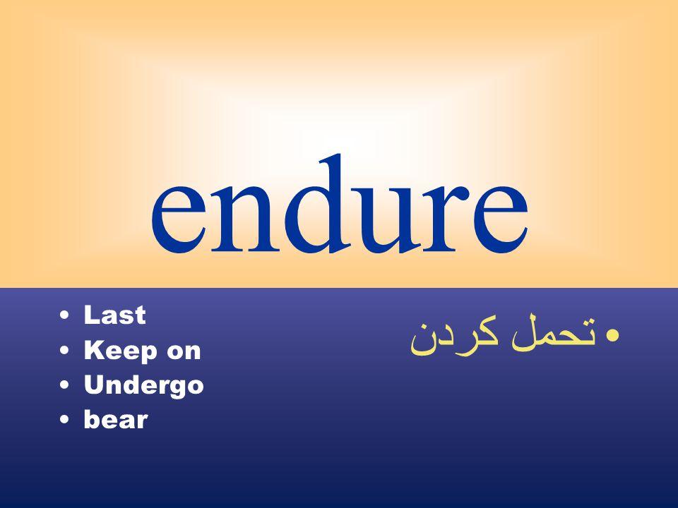 endure Last Keep on Undergo bear تحمل كردن