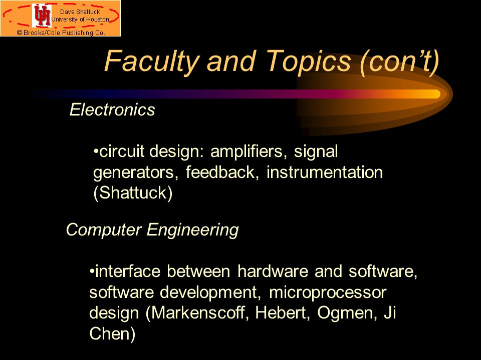Faculty and Topics (con't) Signals and Communications Signals: manipulation and filtering of signals, digital signal processing (Glover, Jansen, Ktonas, Claydon, Karayiannis) Communications: wireless communications, computer networks, fiber optics (Pai, Anderson, Barton, Ji Chen)