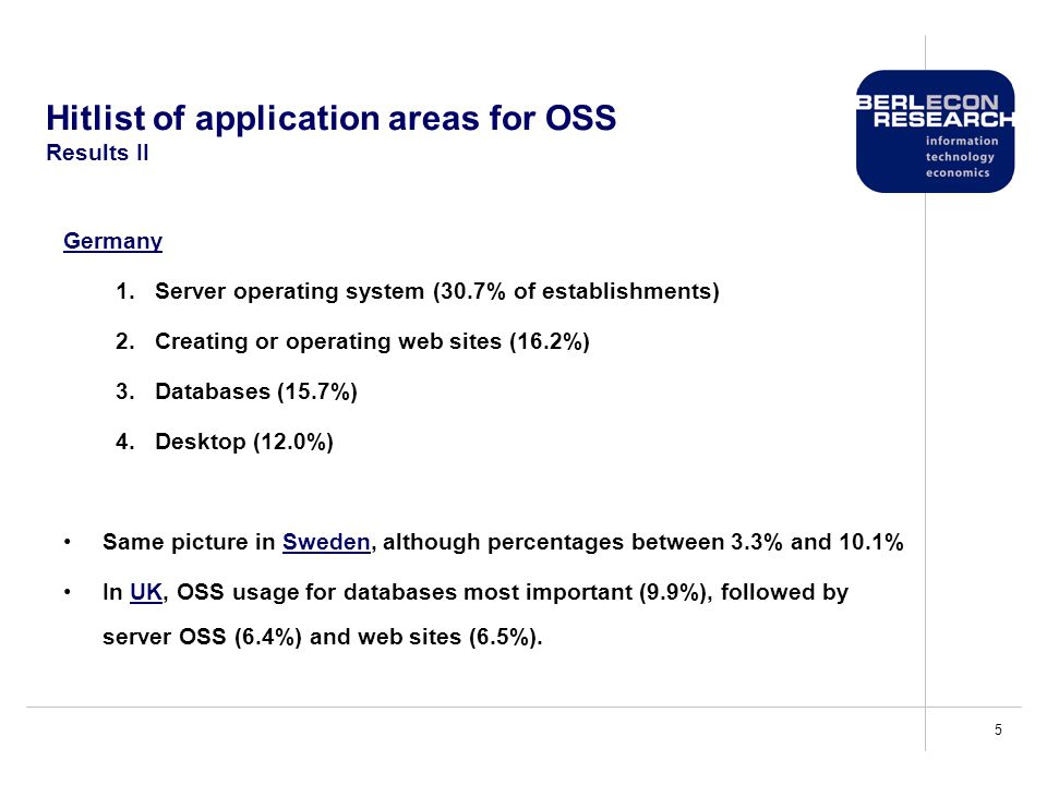 5 Hitlist of application areas for OSS Results II Germany 1.Server operating system (30.7% of establishments) 2.Creating or operating web sites (16.2%) 3.Databases (15.7%) 4.Desktop (12.0%) Same picture in Sweden, although percentages between 3.3% and 10.1% In UK, OSS usage for databases most important (9.9%), followed by server OSS (6.4%) and web sites (6.5%).