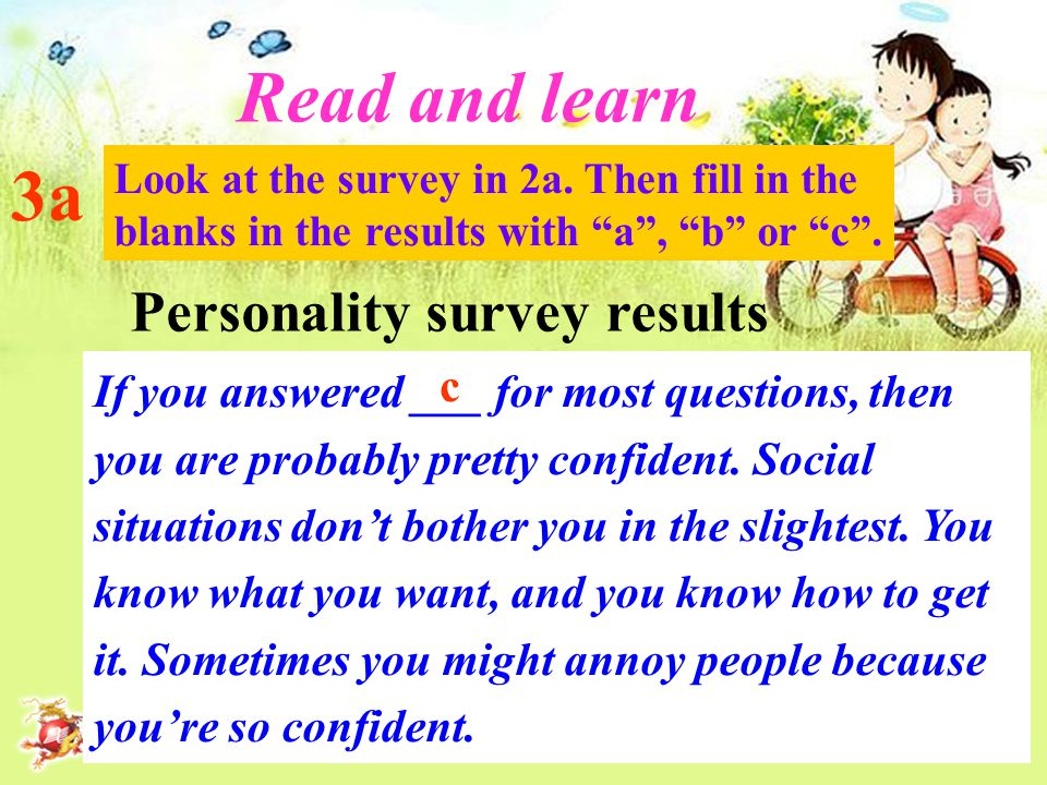 3a Read and learn Look at the survey in 2a.
