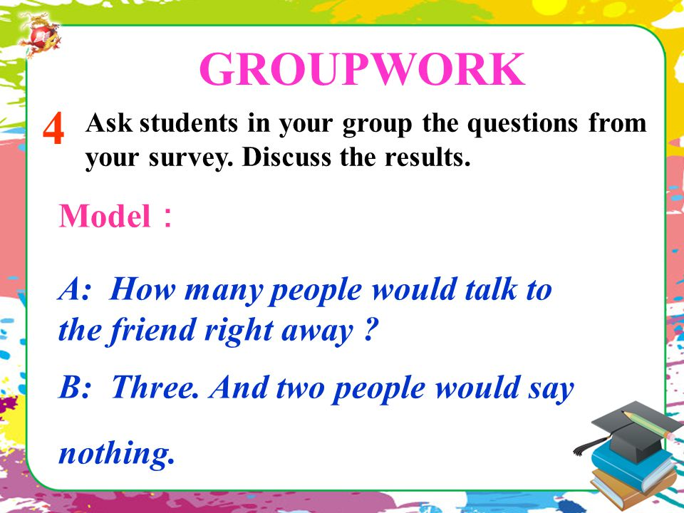 GROUPWORK 4 Ask students in your group the questions from your survey. Discuss the results. Model : A: How many people would talk to the friend right